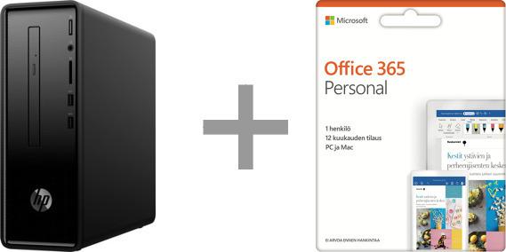 HP Slimline Desktop 290-p0002no -pöytäkone, Win 10 + Microsoft Office 365 Personal - 12 kk