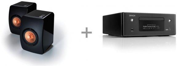 Denon CEOL N10 -CD-vastaanotin + KEF LS50 -jalustakaiutinpari, musta
