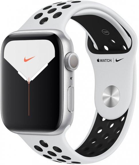 Apple Watch Nike Series 5 (GPS) hopeanvärinen alumiinikuori 44 mm, Pure Platinum/musta Nike Sport -ranneke, MX3V2