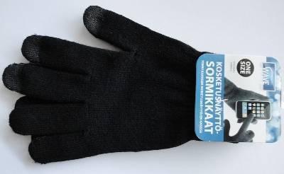 Wave kosketusnäyttösormikkaat, mustat, kuva 3