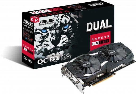 Asus DUAL-RX580-O8G Radeon RX 580 OC 8 Gt -näytönohjain PCI-e-väylään