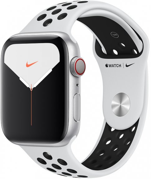Apple Watch Nike Series 5 (GPS + Cellular) hopeanvärinen alumiinikuori 44 mm, Pure Platinum/musta Nike Sport -ranneke, MX3E2