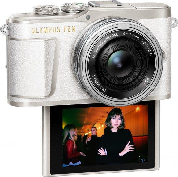 Olympus PEN E-PL9 -mikrojärjestelmäkamera, valkoinen + pannukakkuobjektiivi, kuva 2