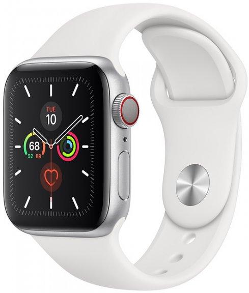 Apple Watch Series 5 (GPS + Cellular) hopeanvärinen alumiinikuori 40 mm, valkoinen urheiluranneke, MWX12