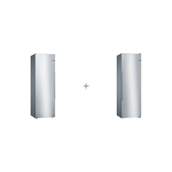 Bosch KSV36AI4P Serie 6 -jääkaappi ja Bosch GSN36MI3V Serie 6 -kaappipakastin, teräs