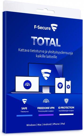 F-Secure TOTAL - Tietoturva ja VPN kaikille laitteille - 3 laitetta / 24 kk -tietoturvaohjelmisto
