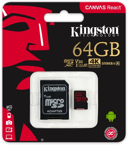Kingston 64 Gt microSD Canvas React UHS-I Speed Class 3 (U3) -muistikortti