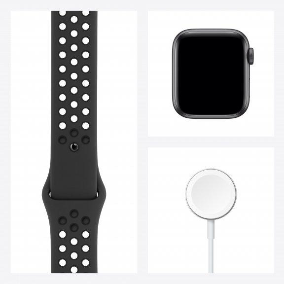 Apple Watch Nike SE (GPS) 40 mm tähtiharmaa alumiinikuori ja antrasiitti/musta Nike Sport ‑ranneke, MYYF2, kuva 8