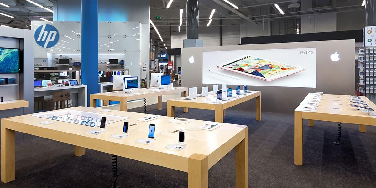 Apple Shop ja HP-osasto toisessa kerroksessa