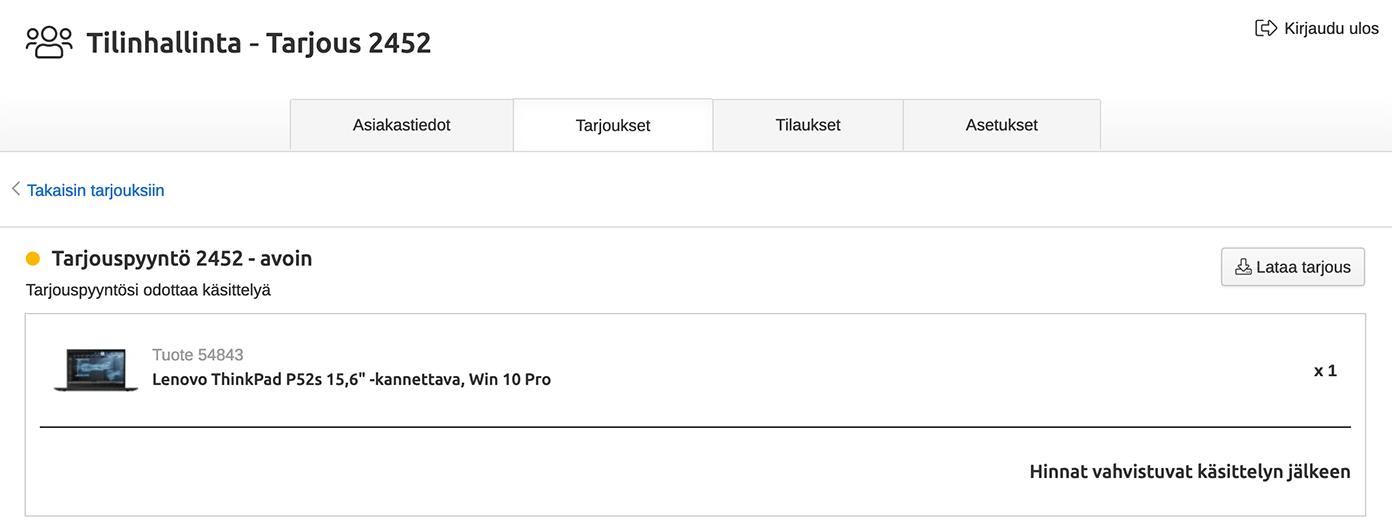 verkkokauppa.com avoimet tarjouspyynnöt
