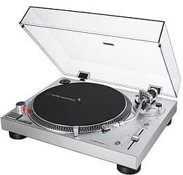 Audio-Technica AT-LP120X-USB -suoravetoinen ammattilevysoitin AT-VM95E-äänirasialla, hopea