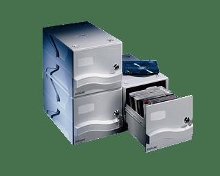 Dataline CD/DVD/Blu-Ray -koteloiden vetolaatikko 25:lle kotelolle, lukittava