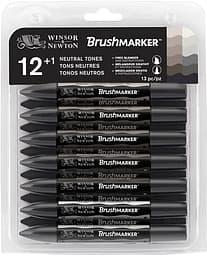 Winsor & Newton Brushmarker Greys -tussilajitelma, 12 tussia