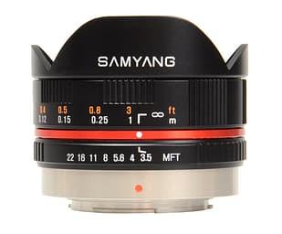 Samyang 7.5 mm 1:3.5 UMC Fish-eye MFT -kalansilmäobjektiivi, musta