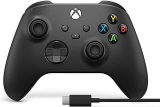 Microsoft Xbox -langaton ohjain + Windows-kaapeli, peliohjainpaketti, musta