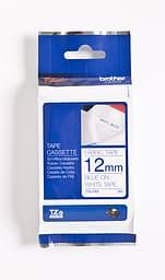 Brother TZe-FA3 Silitettävä tarranauha lev. 12 mm. Sininen teksti / valkoinen pohja
