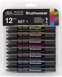 Winsor & Newton Brushmarker Vibrant -tussilajitelma, 12 tussia