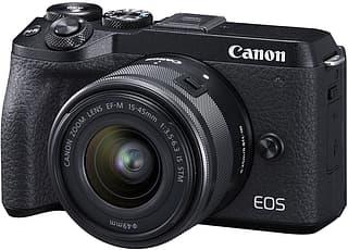 Canon EOS M6 Mark II -mikrojärjestelmäkamera, musta + 15-45 mm -objektiivi