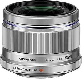 Olympus M.ZUIKO DIGITAL 25 mm f/1,8 Micro Four Thirds objektiivi, hopea