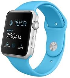 Apple Watch Sport hopea 42 mm, sininen Sport-ranneke, MLC52