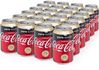 Coca-Cola Vanilla Zero -virvoitusjuoma, 330 ml, 24-PACK