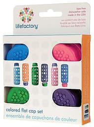 Lifefactory pullonkorkit 4-pack, sininen, violetti, ruohonvihreä ja vadelma