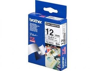 Brother TZe-N231 Laminoimaton tarranauha lev. 12 mm. Musta teksti / valkoinen pohja