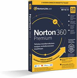 Norton 360 Premium - 75 Gt - 10 laitetta / 12 kk -tietoturvaohjelmisto, aktivointikortti