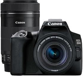 Canon EOS 250D -järjestelmäkamera, musta + 18-55 IS STM + 55-250 IS STM
