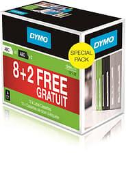 Dymo D1-teippi, 8 + 2, Value Pack, 12 mm, 7 m, 10 rullaa, halpa säästöpakkaus
