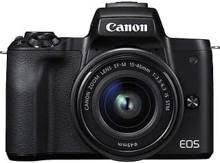 Canon EOS M50 -mikrojärjestelmäkamera, musta + 15-45 mm -objektiivi