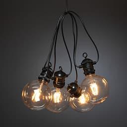 Konstsmide LED -räystäsvalosarja, 10-lamppuinen, pallonmuotoiset kuvut, meripihkan sävyiset lamput, ulkokäyttöön