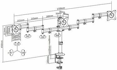 Multibrackets M Deskmount Basic Triple -monitoriteline, musta, kuva 2