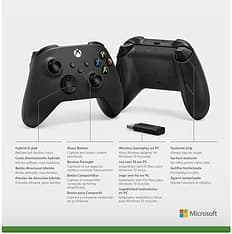 Microsoft Xbox -langaton ohjain + Wireless Adapter for Windows, peliohjainpaketti, musta, kuva 4