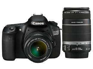Canon EOS 60D KIT digijärjestelmäkamera + EF-S 18-55 IS ja 55-250 IS objektiivit, tuplazoomkit