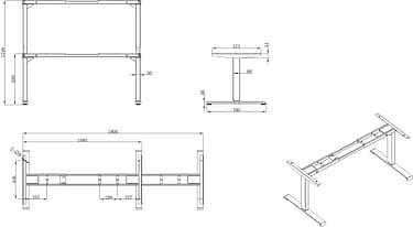 Elfen Ergodesk Pro -sähköpöytä, 120 x 75 cm, mattamusta, kuva 3