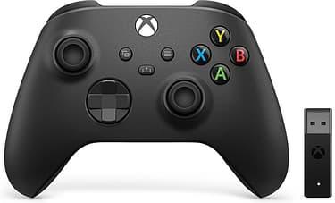 Microsoft Xbox -langaton ohjain + Wireless Adapter for Windows, peliohjainpaketti, musta