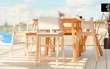 Sulo-tuoli, valkoinen/koivu, kuva 14