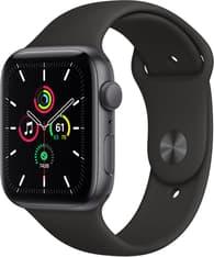 Apple Watch SE (GPS) 44 mm tähtiharmaa alumiinikuori, musta urheiluranneke, MYDT2