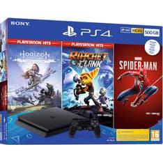 Sony PlayStation 4 Slim 500 Gt + Horizon: Zero Dawn + Ratchet & Clank + Spider-Man -pelikonsolipaketti, musta