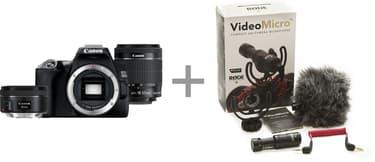 Canon EOS 250D -järjestelmäkamera, musta + 18-55 IS STM + 50 mm 1.8 STM + Rode VideoMicro, kuva 2