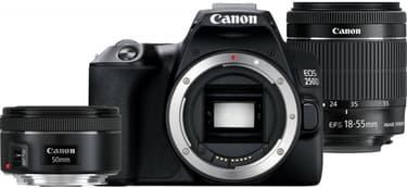 Canon EOS 250D -järjestelmäkamera, musta + 18-55 IS STM + 50 mm 1.8 STM + Rode VideoMicro