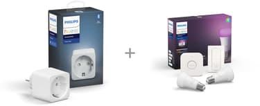 Philips Hue Starter kit -pakkaus, BT,  White and Color ambiance, E27 ja Hue Smart -plug älypistorasia, kuva 3