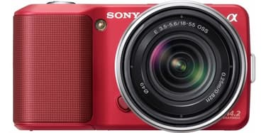 Sony NEX-3K mikrojärjestelmäkamera + 18-55 mm f/3.5-5.6 OSS objektiivi, punainen, kuva 2