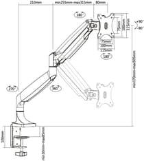 Multibrackets M Deskmount Spring Single -monitoriteline, musta, kuva 2