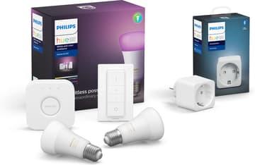 Philips Hue Starter kit -pakkaus, BT,  White and Color ambiance, E27 ja Hue Smart -plug älypistorasia