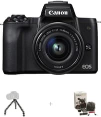 Canon EOS M50 -mikrojärjestelmäkamera, musta + 15-45 mm -objektiivi Vloggaajan kit, kuva 2