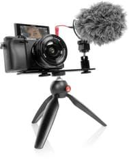 Sony A6400 -mikrojärjestelmäkamera + 16-50 mm objektiivi + vloggaajan kit