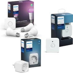 Philips Hue -tuotepaketti: White and color ambiance -starter kit E27: 3 lamppua ja silta sekä Motion sensor ja Hue Plug