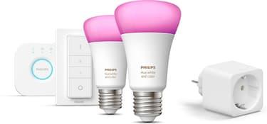 Philips Hue Starter kit -pakkaus, BT,  White and Color ambiance, E27 ja Hue Smart -plug älypistorasia, kuva 2